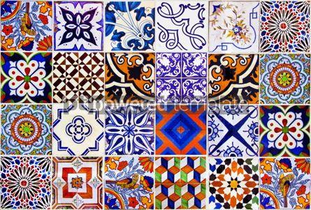 Architecture : Close up traditional Lisbon ceramic tiles #07783