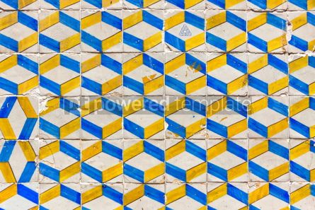 Architecture : Typical Lisbon old ceramic wall tiles (azulejos) #07785