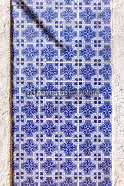 Architecture : Typical Portuguese old ceramic wall tiles (Azulejos) in Lisbon  #07797