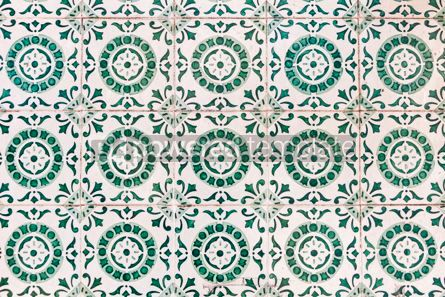 Architecture : Typical Portuguese old ceramic wall tiles (Azulejos) in Lisbon  #07800