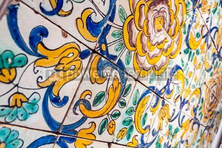 Architecture : Typical Portuguese old ceramic wall tiles (Azulejos) in Lisbon  #07802