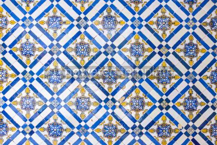 Architecture : Typical Portuguese old ceramic wall tiles (Azulejos) in Lisbon  #07803