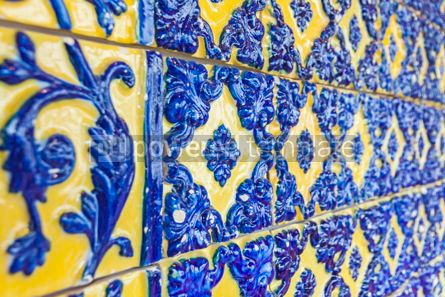 Architecture : Typical Portuguese old ceramic wall tiles (Azulejos) in Lisbon  #07805