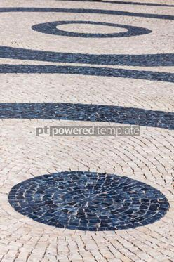 Architecture : Patterned paving tiles in Lisbon city Portugal #07810