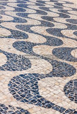 Architecture : Patterned paving tiles in Lisbon city Portugal #07813