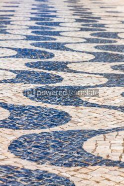 Architecture : Patterned paving tiles in Lisbon city Portugal #07814