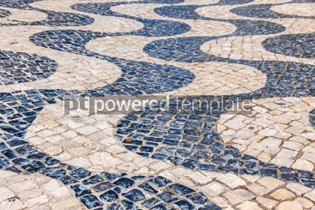 Architecture : Patterned paving tiles in Lisbon city Portugal #07815