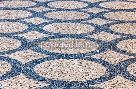 Architecture : Patterned paving tiles in Lisbon city Portugal #07816