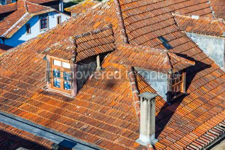 Architecture : Orange tile rooftops in Porto old town Portugal #07818