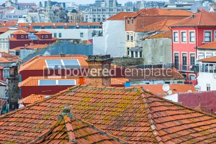 Architecture : Orange tile rooftops in Porto old town Portugal #07821