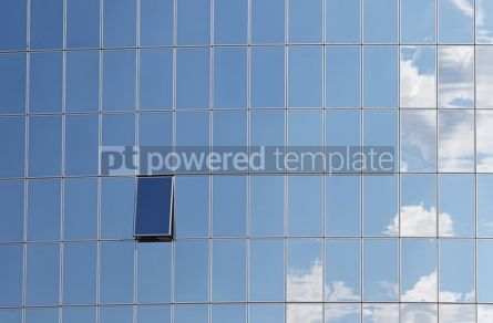 Architecture : Clouds reflected in windows of modern building #07828