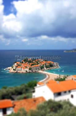 Architecture : Sveti Stefan island in Adriatic sea Montenegro. Tilt-shift mini #07830