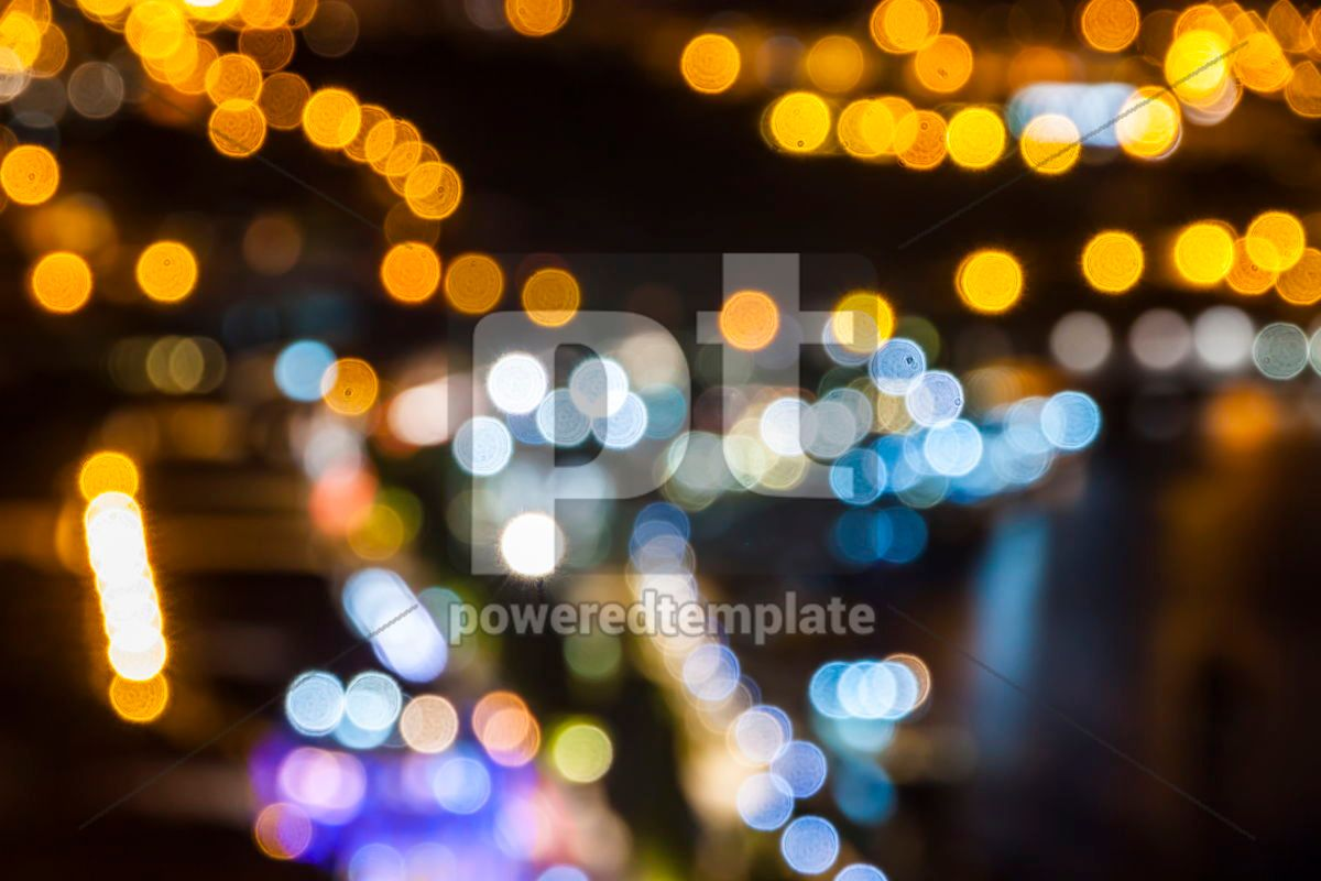 Blurred defocused lights of night city, 07877, Abstract — PoweredTemplate.com
