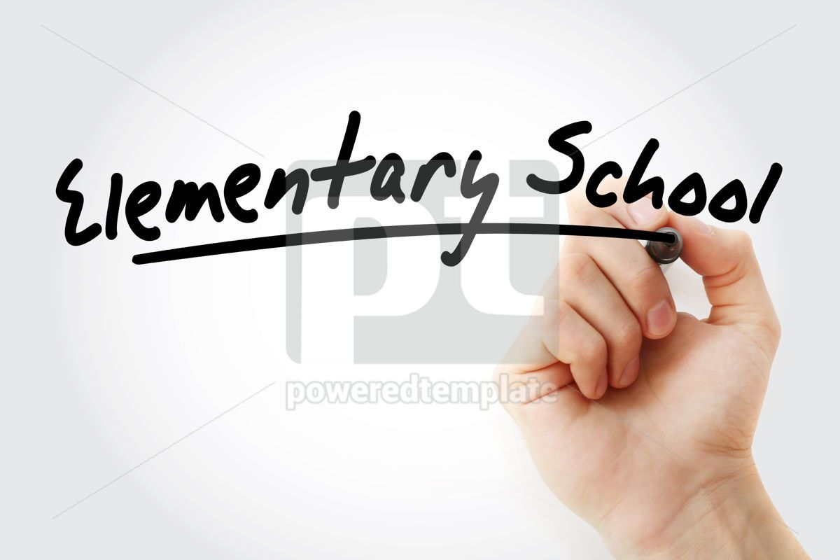 Hand writing Elementary school with marker, 08381, Business — PoweredTemplate.com