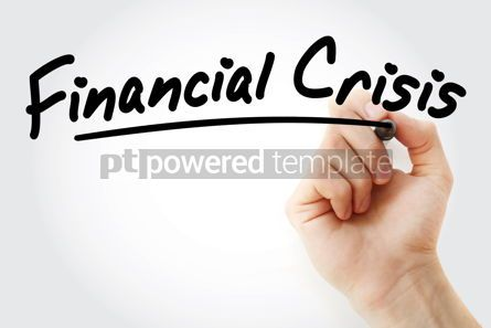 Business: Hand writing Financial crisis with marker #08471