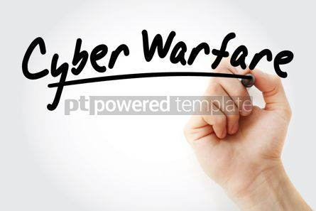 Business: Hand writing Cyber warfare with marker #08558