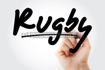 Business: Hand writing Rugby with marker #08576