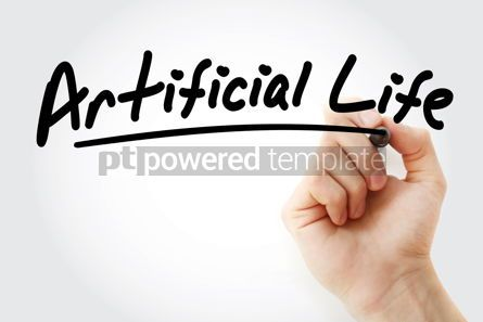 Business: Hand writing Artificial life with marker #08592