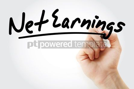 Business: Hand writing Net earnings with marker #08622