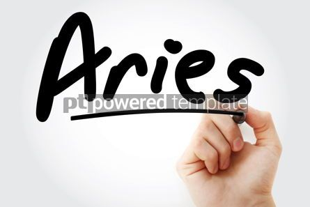 Business: Hand writing Aries with marker #08626