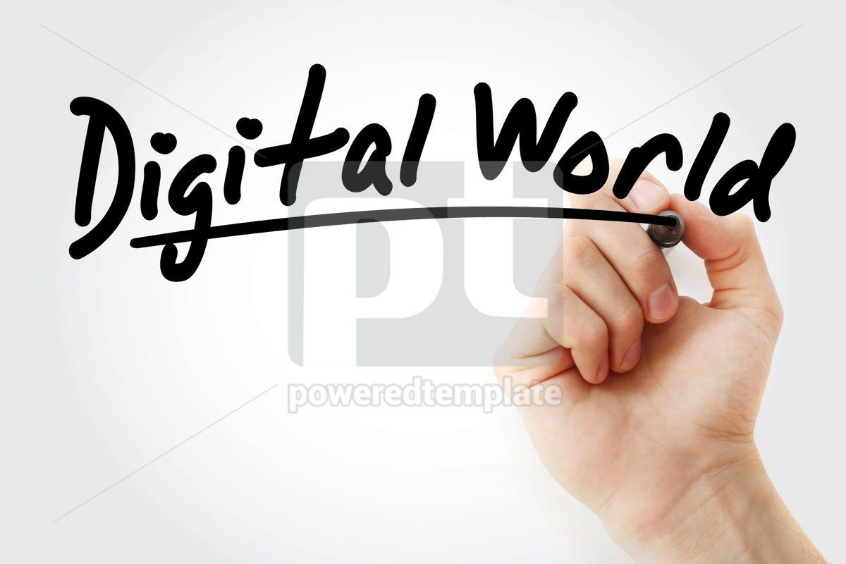 Hand writing Digital world with marker, 08670, Business — PoweredTemplate.com