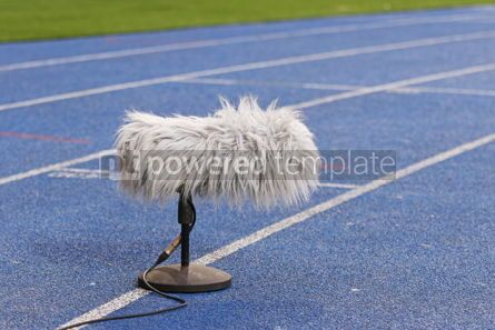 Sports : Professional sport microphone near the football field #08684