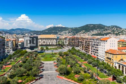 Architecture : Bird-eye view of colorful historical houses in Nice city France #08718
