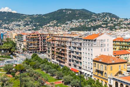 Architecture : Bird-eye view of colorful historical houses in Nice city France #08719