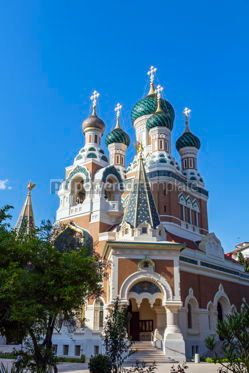 Architecture : Russian Orthodox Cathedral in City of Nice France #08726
