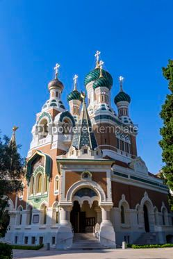 Architecture : Russian Orthodox Cathedral in City of Nice France #08727