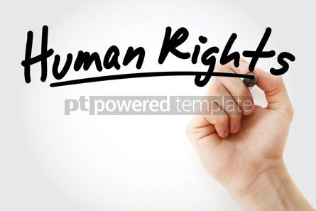 Education: Hand writing Human rights with marker #08732