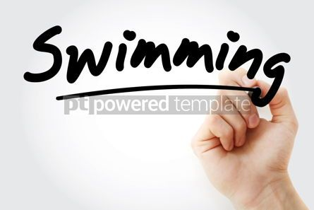 Sports : Hand writing Swimming with marker #08806