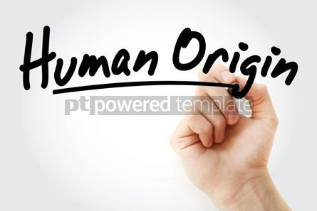Business: Hand writing Human origin with marker #08864