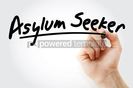 Business: Hand writing Asylum seeker with marker #08885