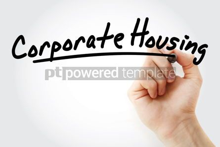 Business: Hand writing corporate housing with marker #08900