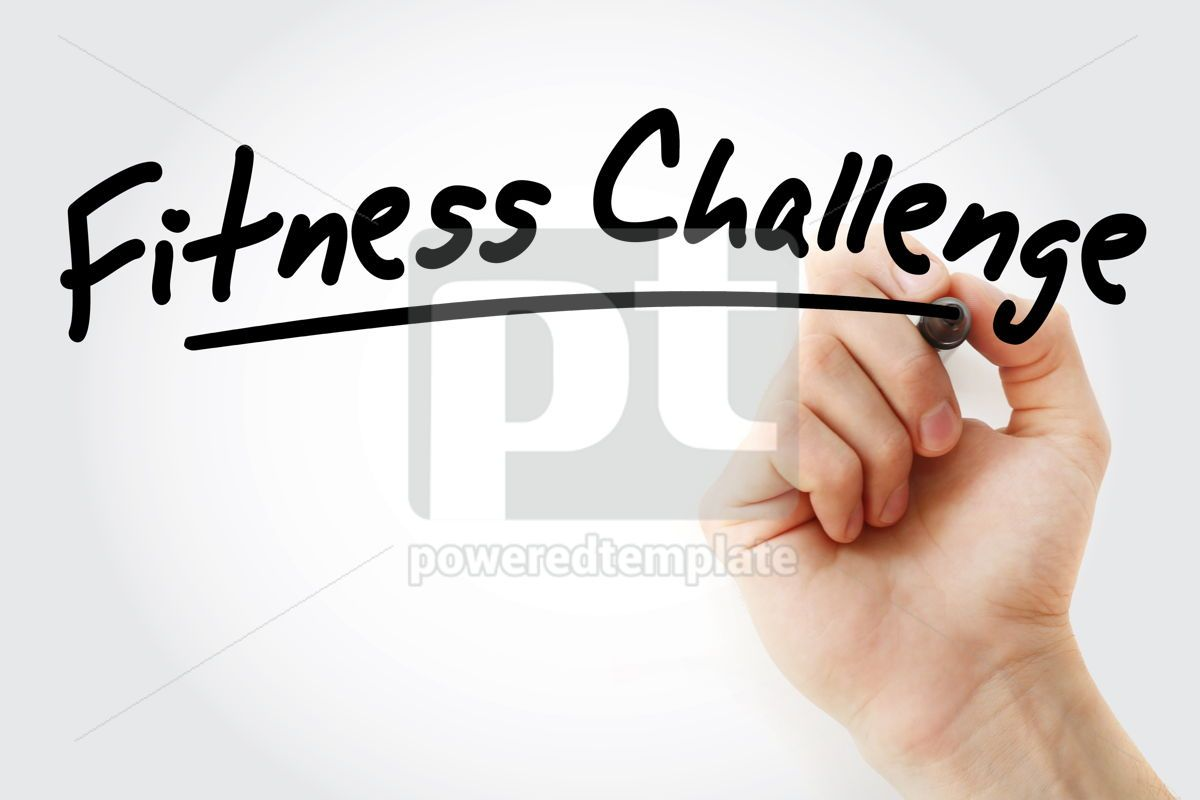 Hand writing Fitness challenge with marker, 08934, Business — PoweredTemplate.com