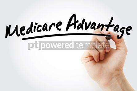 Business: Hand writing Medicare Advantage with marker #09088