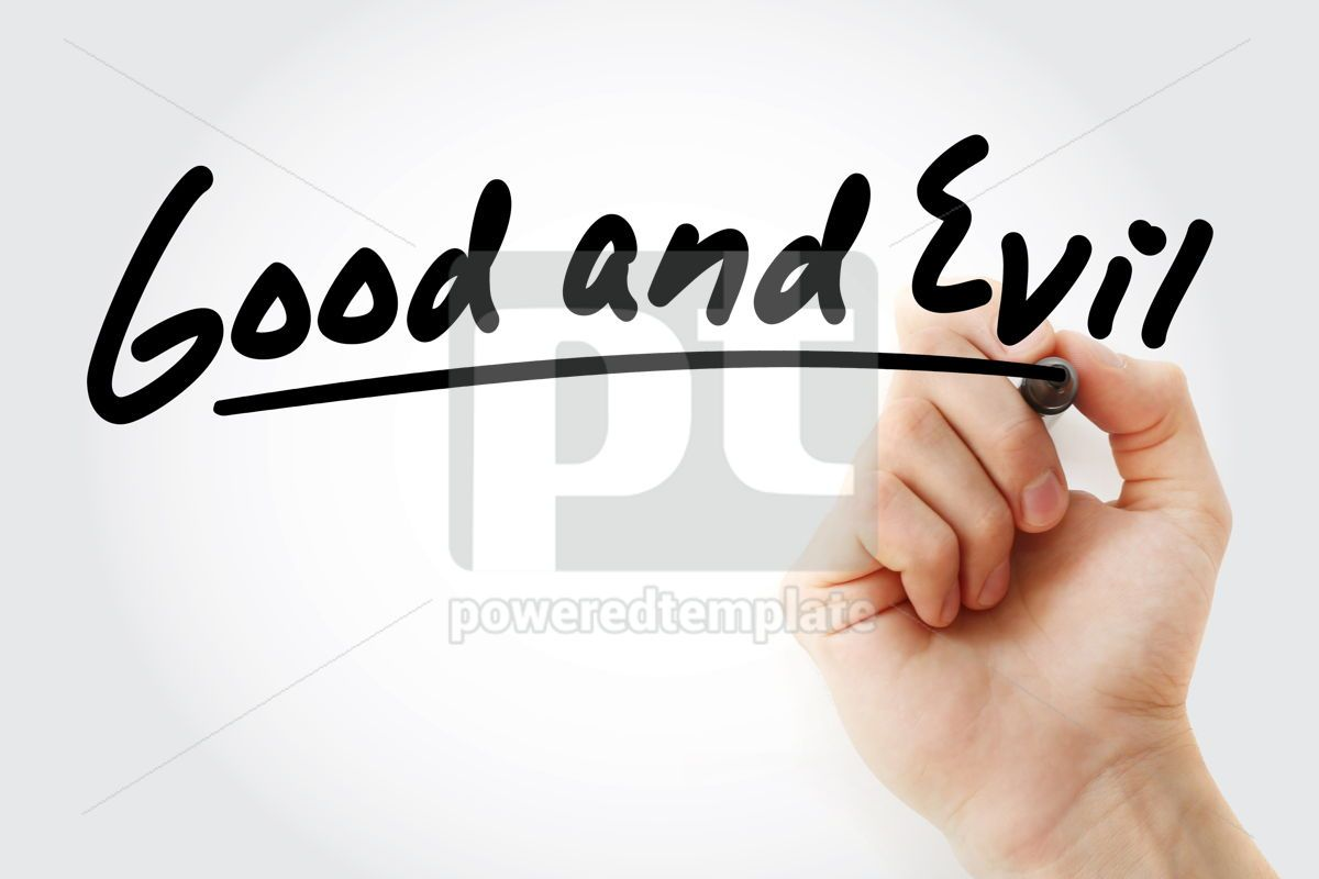 Hand writing Good and evil with marker, 09100, Business — PoweredTemplate.com