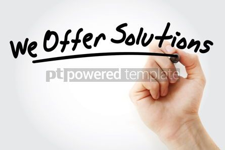 Business: Hand writing We Offer Solutions with marker #09134