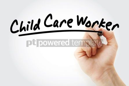 Business: Hand writing child care worker with marker #09140