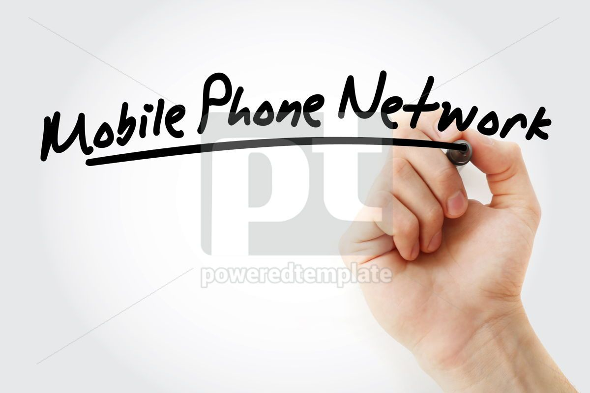 Mobile Phone Network text with marker, 09229, Business — PoweredTemplate.com
