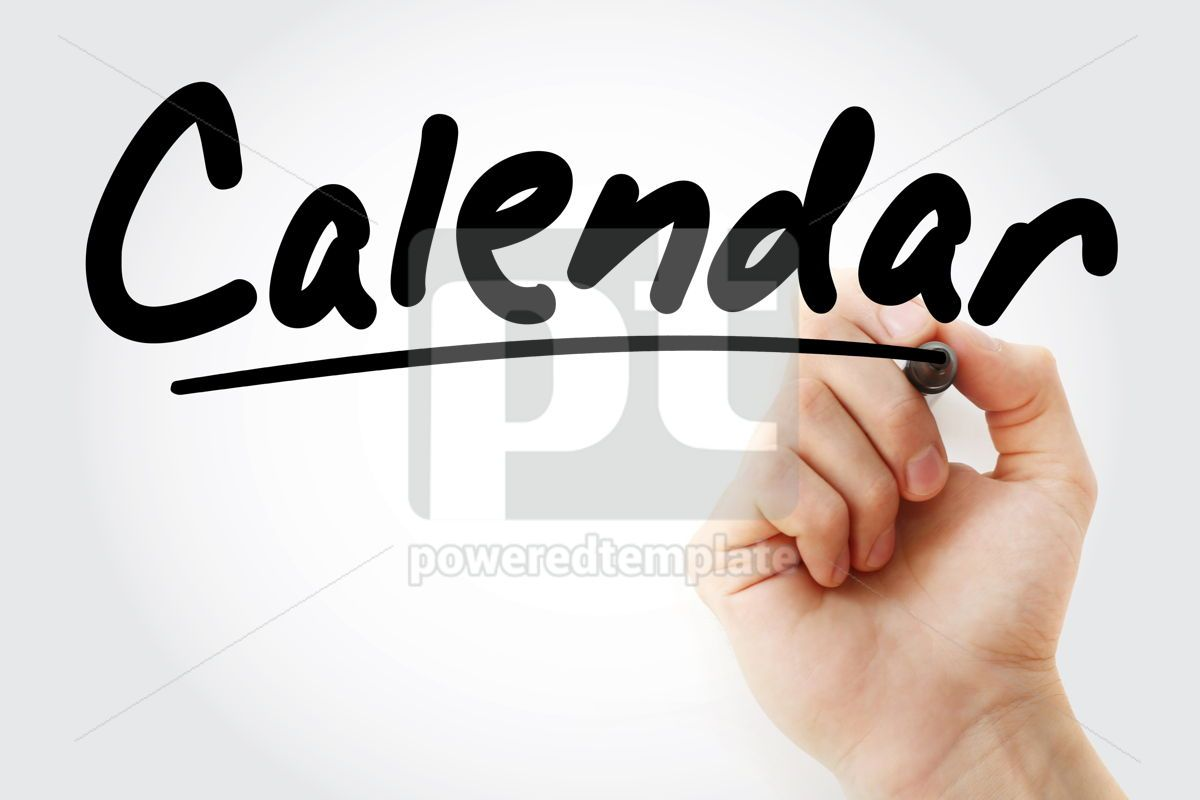 Calendar text with marker, 09233, Business — PoweredTemplate.com