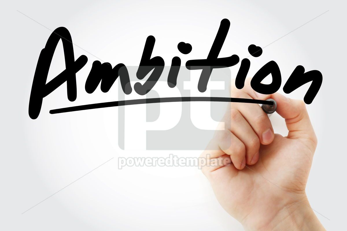 Ambition text with marker, 09234, Business — PoweredTemplate.com