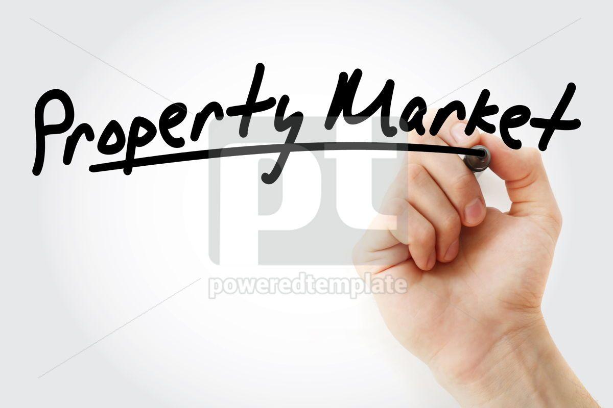 Property Market text with marker, 09245, Business — PoweredTemplate.com