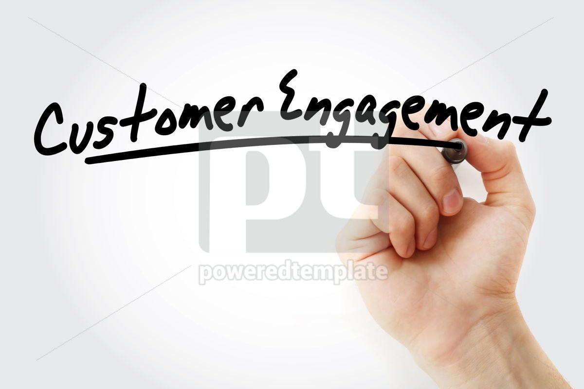 Customer engagement text with marker, 09247, Business — PoweredTemplate.com