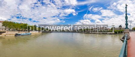 Architecture : Panoramic view of Rhone river in Lyon city France #09266