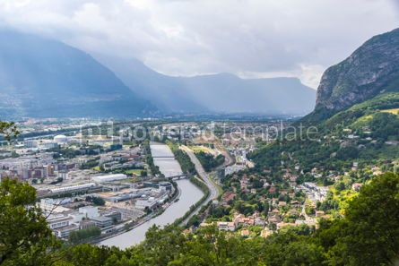 Architecture : Panoramic aerial view of Grenoble city France #09268