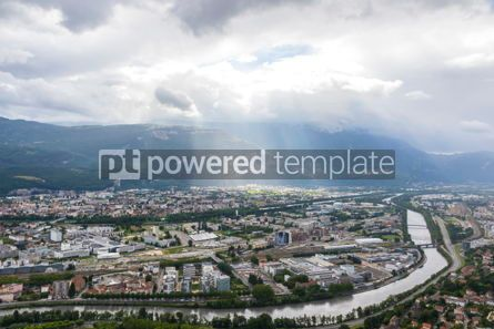 Architecture : Panoramic aerial view of Grenoble city France #09270