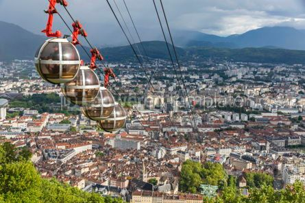 Architecture : Panoramic aerial view of Grenoble city France #09271