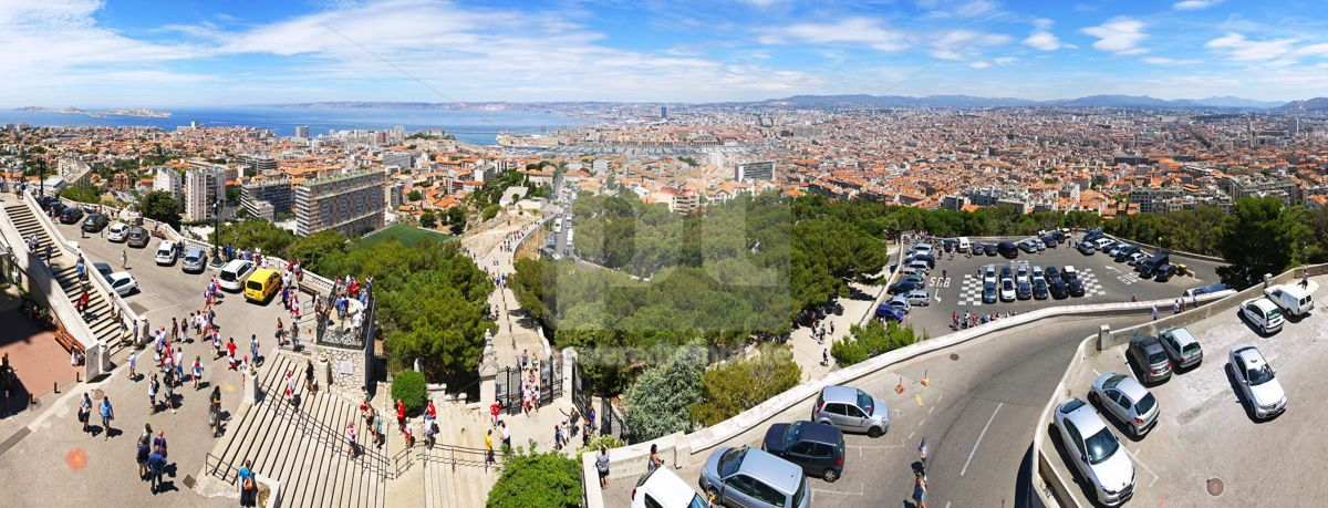 Aerial panoramic view of Marseille city France, 09275, Architecture — PoweredTemplate.com